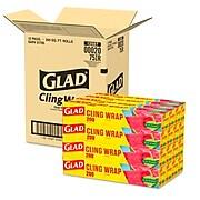 Glad® ClingWrap Plastic Wrap, 200 Sq Ft., 12 Boxes/Carton(00020)