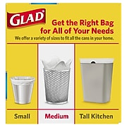 Glad OdorShield Quick-Tie 8 Gallon Medium Trash Bags, Fresh Clean, .74 mil, White, 26/Box (78815)