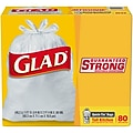 Glad Quick-Tie 13 Gallon Tall Kitchen Trash Bags, .66 mil,White, 80 Bags/Box (60034)