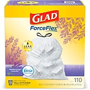 Glad OdorShield Febreze 13 gal. Tall Kitchen Trash Bags, .72 mil., White, 110/Box (79157)