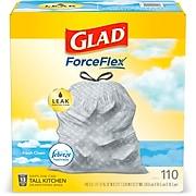 Glad with Febreze Freshness 13 Gallon Kitchen Trash Bag, Low Density 0.78 Mil, Gray, 110 Bags/Roll, 3 Rolls/Carton (78563)