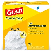 Glad Drawstring 13 Gallon Tall Trash Bags, .71 mil., White, 100 Bags/Box (CLO 78526)