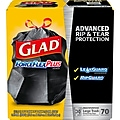 Glad ForceFlexPlus 30 Gallon Large Trash Bags, .90 mil, Black, 70/Box (70358)