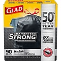 Glad Drawstring 30 Gallon Trash Bags, 1.05 mil., Black, 90/Box (78952)