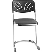 """NPS® 18"""" Blow Molded Square Elephant Z-Stool With Backrest, Black, 3/Pack"""