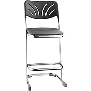 """NPS® 24"""" Blow Molded Square Elephant Z-Stool With Backrest, Black, 3/Pack"""