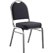 NPS #9264-SV Dome-Back Fabric Padded Stack Chair, Diamond Navy/Silvervein - 80 Pack