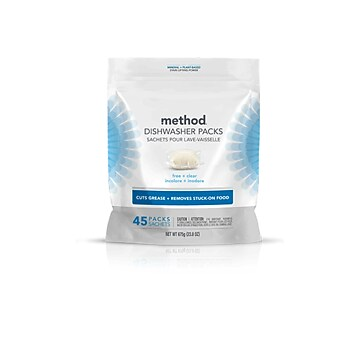 Method Power Dish Dishwasher Detergent Packs Free + Clear 45 count (01760)