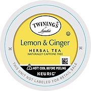 Twinings of London Lemon & Ginger Herbal Tea, Keurig K-Cup Pods, 24/Box (F11019)