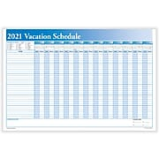 """2021 ComplyRight 24"""" x 36"""" Dry Erase Calendar, Full Vacation Schedule, Blue/White (J0063)"""
