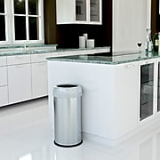 halo Stainless Steel Round Open Top Trash Can with Dual AbsorbX Odor Control System, Silver, Silver, 13 Gal. (OT13STR)