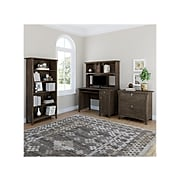 """Bush Furniture Salinas 47"""" Computer Desk with Hutch, Lateral File Cabinet and 5-Shelf Bookcase, Ash Brown (SAL002ABR)"""