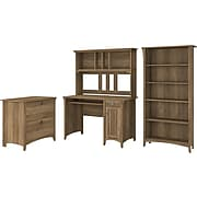 """Bush Furniture Salinas 47"""" Computer Desk with Hutch, Lateral File Cabinet and 5-Shelf Bookcase, Reclaimed Pine (SAL002RCP)"""