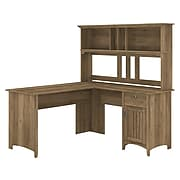 """Bush Furniture Salinas 60"""" L-Shaped Desk with Hutch, Reclaimed Pine (SAL004RCP)"""