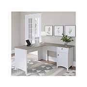 "Bush Furniture Salinas 60"" L-Shaped Desk, Shiplap Gray/Pure White (SAD160G2W-03)"