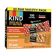 KIND Minis Bars, Peanut Butter and Dark Chocolate/Peanut Butter, 0.7 Oz., 20/Pack (27967)