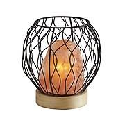 Simplee Adesso Hope Incandescent Table Lamp, Pink Himalayan Salt/Natural Wood/Black (SL1146-12)