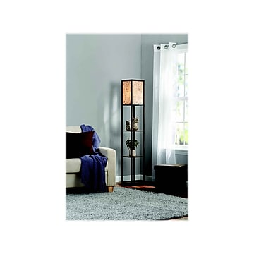 "Adesso Script 62"" Glossy Brown Shelf Floor Lamp with Rectangular Shade (SL1162-25)"