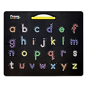 PicassoTiles Picasso TOYS 2-in-1 Alphabet Combo Magnetic Drawing Board, Black (PCPTB03-BLK)