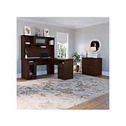 """Bush Furniture Cabot 60"""" L-Shaped Desk with Hutch and Lateral File Cabinet, Modern Walnut (CAB005MW)"""