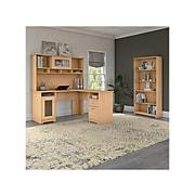 "Bush Furniture Cabot 60""W L-Shaped Desk with Hutch and 5-Shelf Bookcase, Natural Maple (CAB011AC)"