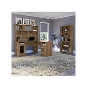 """Bush Furniture Cabot 60""""W L-Shaped Desk with Hutch and 5-Shelf Bookcase, Reclaimed Pine (CAB011RCP)"""