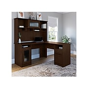 "Bush Furniture Cabot 60"" L-Shaped Computer Desk with Hutch, Modern Walnut (CAB001MW)"