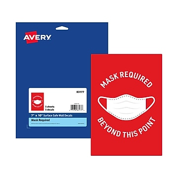 """Avery Safety Wall Sign, 7"""" x 10"""", Red/White, 5/Pack (83177)"""