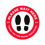 """Avery Social Distance Floor Decal, 10 1/2"""" x 10 1/2"""", White/Red/Black, 5 Labels Per Pack (83090)"""
