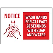 """Avery Wash Hands Wall Sign, 10"""" x 7"""", White/Red, 5/Pack (83175)"""