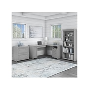 """Bush Furniture Fairview 60"""" L-Shaped Desk with Lateral File Cabinet and 5-Shelf Bookcase, Cape Cod Gray (FV008CG)"""