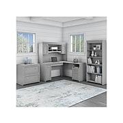 """Bush Furniture Fairview 60"""" L-Shaped Desk with Hutch, File Cabinet, and 5-Shelf Bookcase, Cape Cod Gray (FV006CG)"""