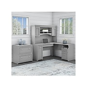 """Bush Furniture Fairview 60"""" L-Shaped Desk with Hutch and Lateral File Cabinet, Cape Cod Gray (FV003CG)"""