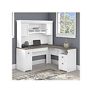 "Bush Furniture Fairview 60"" L-Shaped Desk with Hutch, Shiplap Gray/Pure White (FV004G2W)"