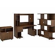 "kathy ireland® Home by Bush Furniture Madison Avenue 60"" Computer Desk with Hutch, Cabinet & Bookcase, Modern Walnut (MDS012MW)"