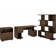 kathy ireland® Home by Bush Furniture Madison Avenue 60W Computer Desk with Lateral File Cabinet and Bookcase, Modern Walnut