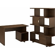 "kathy ireland® Home by Bush Furniture Madison Avenue 48"" Writing Desk with Bookcase, Modern Walnut (MDS009MW)"