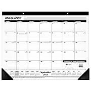 "2021-2022 AT-A-GLANCE 17"" x 21.75"" Desk Pad Calendar, Academic, White/Black (SK2416-00-22)"