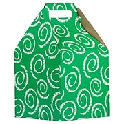JAM PAPER Gable Gift Box with Handle, Large, 8 x 7 1/4 x 8, Green Swirl Design