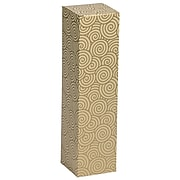 JAM PAPER Wine Gift Boxes, 3 1/4 x 3 1/4 x 13 1/4, Gold with Swirls, 2/Pack