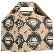 JAM PAPER Gable Gift Box with Handle, Medium, 4 x 8 x 5 1/4, Kraft & Coffee Design
