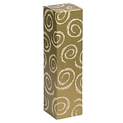 JAM PAPER Wine Gift Boxes, 3 1/4 x 3 1/4 x 13 1/4, Gold with White Swirls, 2/Pack