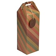 JAM PAPER Wine Gift Boxes with Tag, 4 4/5 x 4 4/5 x 17, Striped Kraft Christmas Recycled, 2/Pack