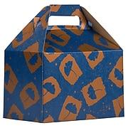 JAM PAPER Gable Gift Box with Handle, Medium, 4 x 8 x 5 1/4, Blue & Orange Flower Design