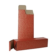 JAM PAPER Holiday Wine Boxes, 3 1/4 x 3 1/4 x 13 1/4, Red with Swirls, Bulk 100/Pack