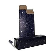 JAM PAPER Holiday Wine Boxes, 3 1/4 x 3 1/4 x 13 1/4, Night Sky Shooting Stars, Bulk 100/Pack