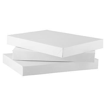 JAM PAPER Small Gift Boxes, Lingerie Size, 10 7/8 x 7 7/8 x 1 1/4, White, 3/Pack
