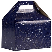 JAM PAPER Gable Gift Box with Handle, Medium, 4 x 8 x 5 1/4, Purple Shooting Stars Design