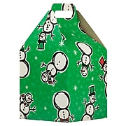JAM PAPER Gable Gift Box with Handle Large, 8 x 7 1/4 x 8, Green Snowman Design