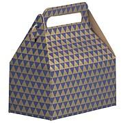 JAM PAPER Gable Gift Box with Handle, Small, 3 1/4 x 6 x 3, Purple & Gold Diamond